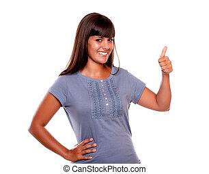 Charmig young woman saying great job - Charming young woman...