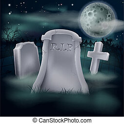 Spooky grave - A spooky grave with RIP written on it and...