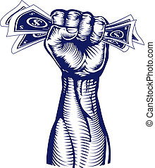 Fist holding up money - A revolutionary fist holding up a...