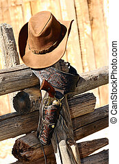 far west spirit - hat and gun in the far west, western...