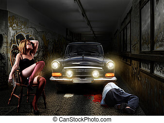 Crime scene, Sexy woman killed man in an underground tunnel