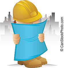 Construction Character - Contractor Holding Blueprints on a...