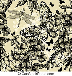 Seamless pattern with blooming phlox, butterflies and...