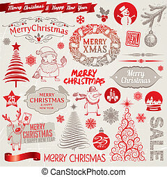 Vector set of Christmas signs