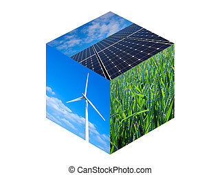 Renewable Energy Cube - Wind turbine, solar panels and wheat...