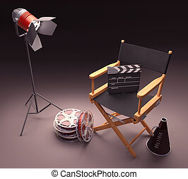 Famous Director - Objects of the film industry, the concept...