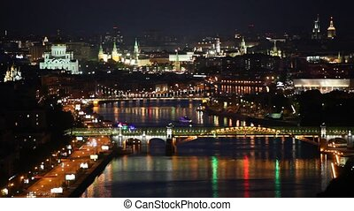 Pushkinsky and Krymsky bridges stands in front of Kremlin...