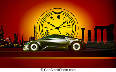 an illustration of the time machine runs to the sunset in...