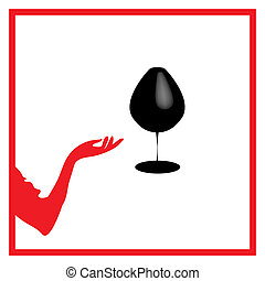 Abstraction WOMAN silhouette black and red glass