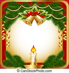 illustration of the new year's background with a candle...
