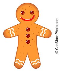 gingerbread man - Gingerbread man isolated on a white...