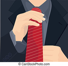 Businessman in a suit straightens h