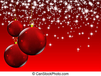 christmas red balls - new year card with christmas red...