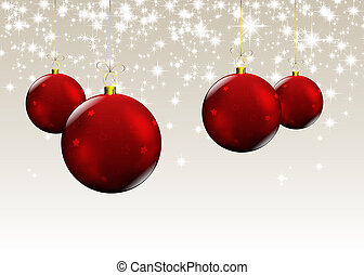 christmas red balls - new year card with christmas decor, on...