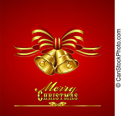 Christmas Card with Bells - Ornate Merry Christmas Card with...