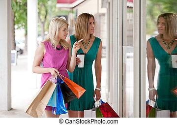 dos, mujeres, ventana, compras