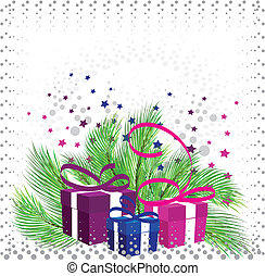 Christmas gifts on the background of pine branches, stars...