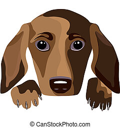 Futuristic dog, vector portrait - Futuristic dog - a...