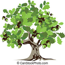 grande, verde, roble, árbol, vector, illustrat