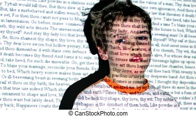 W Shakespeare, Romeo and Juliet text projection on boy...
