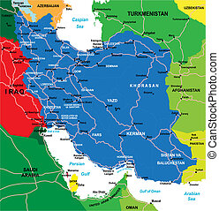 Iran map - Highly detailed vector map of Iran with...