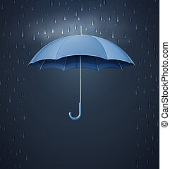 Umbrella with heavy fall rain - illustration of cool single...