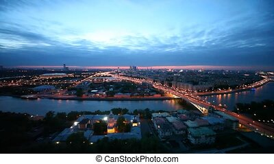 Panorama of district of Moscow is visible from terrace of...