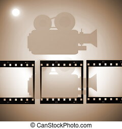 Sepia film strip frame and movie projector