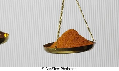 chili powder and ripe chili on a balance