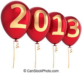 2013, nouveau, année, fête, Ballons