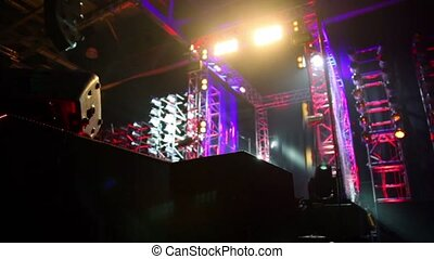 Gate of metal constructions with illumination on stage -...