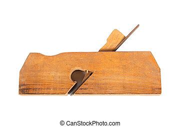 wood plane - old carpenter tool - wood plane - on a white...