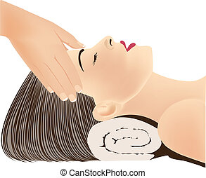 Hands massaging female face - Face Massage, Head Massage,...