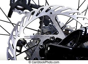 Brakes - Hydraulic Rear Brakes on Bicycle - Rotor in Focus