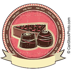 Chocolate sweets on old label.Vector vintage background