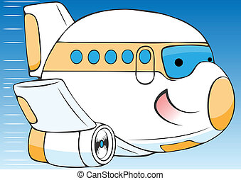 cheerful cartoon airplane vector illustration