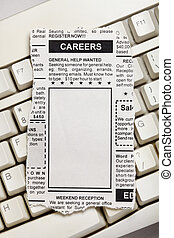 Career Ad - Fake Classified Ad, newspaper, Career concept