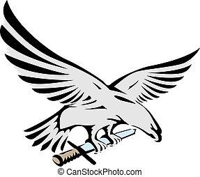 flying eagle holding a sword vector illustration
