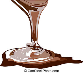 Vector chocolate splash, flowing chocolate, real honey,...