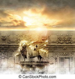 Heaven Gate - Fantastical glowing golden lion statue with...