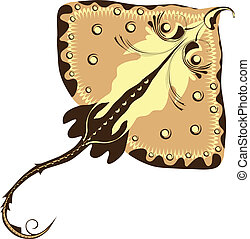cramp-fish, stylized Electric ray, fish