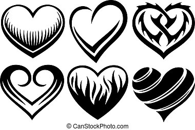 hearts tattoos vector illustration