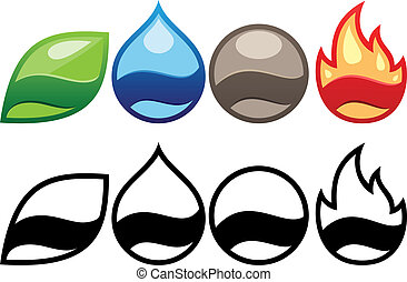 four elements labels vector illustration