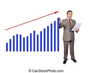 growth chart - businessman drawing growth of chart