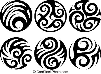 round tattoos vector illustration