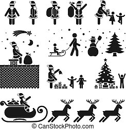 PICTOGRAMS - PICTOGRAM BLACK WHITE ICON SET - CHRISTMAS...