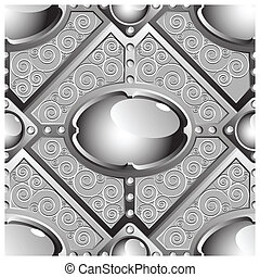 vector seamless pattern - silver emboss bar with grey glossy...