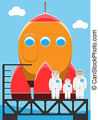 astronaut family at spaceport vector illustration
