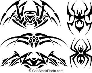 spider tattoo set vector illustration