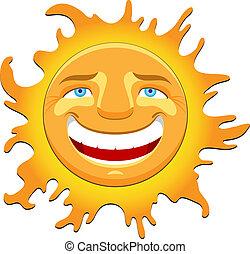 cheerful sun character vector illustration
